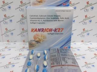 Calcitriol, calicium citrate malate cyanocobalamin, zinc sulphate, folic acid, vit k27, pyridoxine with boron soft gel