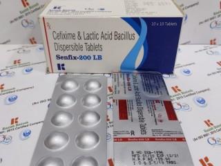 Cefixime 200 and lactic acid bacillus dispersible tablet.