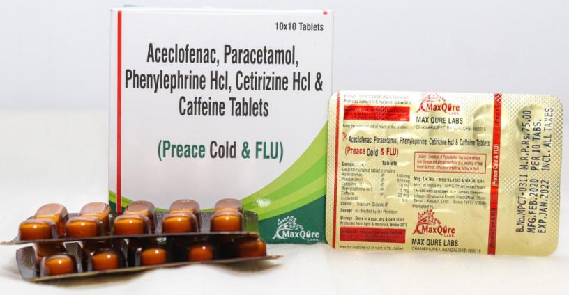 ACECLOFENAC IP 100 MG+PARACETAMOL IP 325 MG+PHYENYLEPHRINE HCL IP 5 MG + CITIRIZINE HCL IP 10 MG+CAFFEINE ANHYDROUS IP 25 MG 1